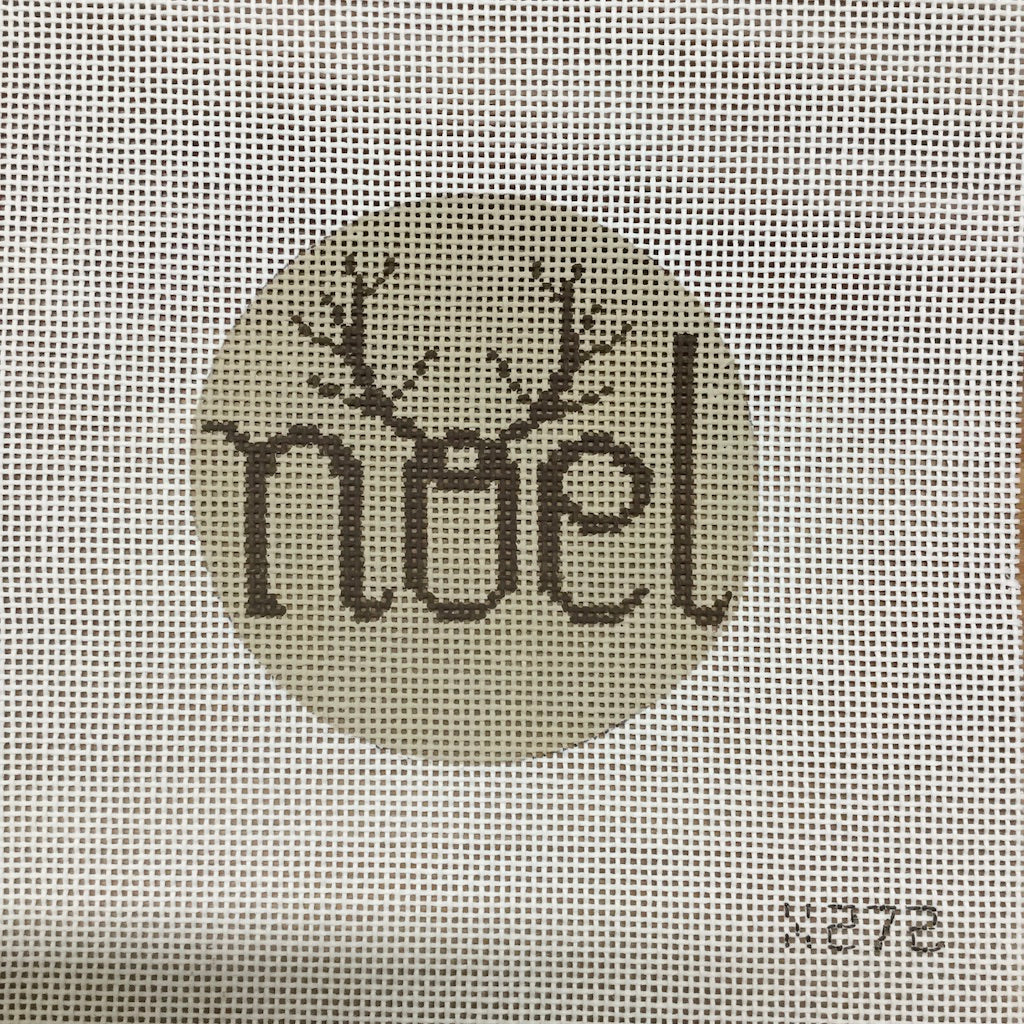 Noel Antlers Round Canvas - KC Needlepoint