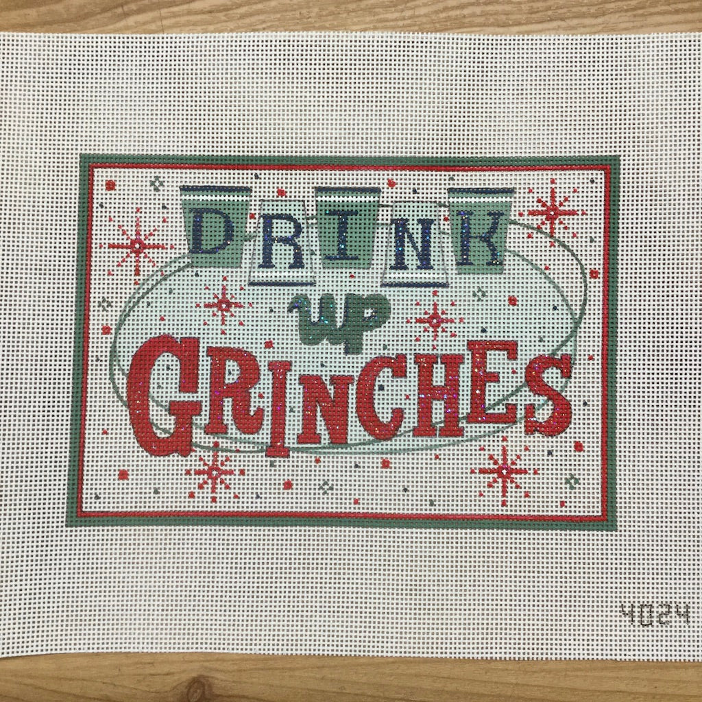 Drink Up Grinches Canvas - needlepoint