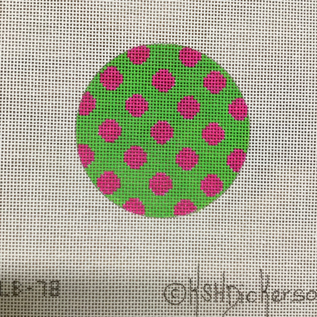 Green with Pink Dots Round Canvas