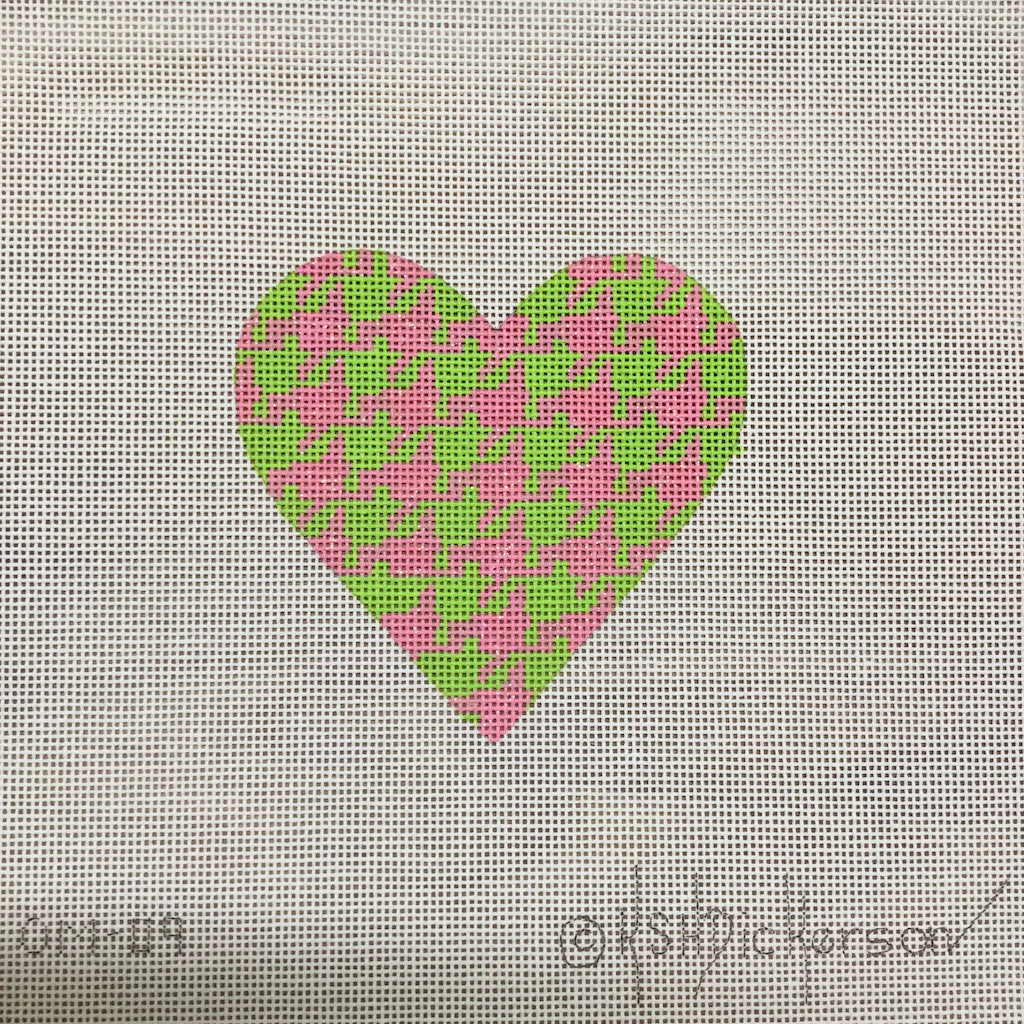Pink Green Houndstooth Heart Canvas-Needlepoint Canvas-Kate Dickerson-KC Needlepoint
