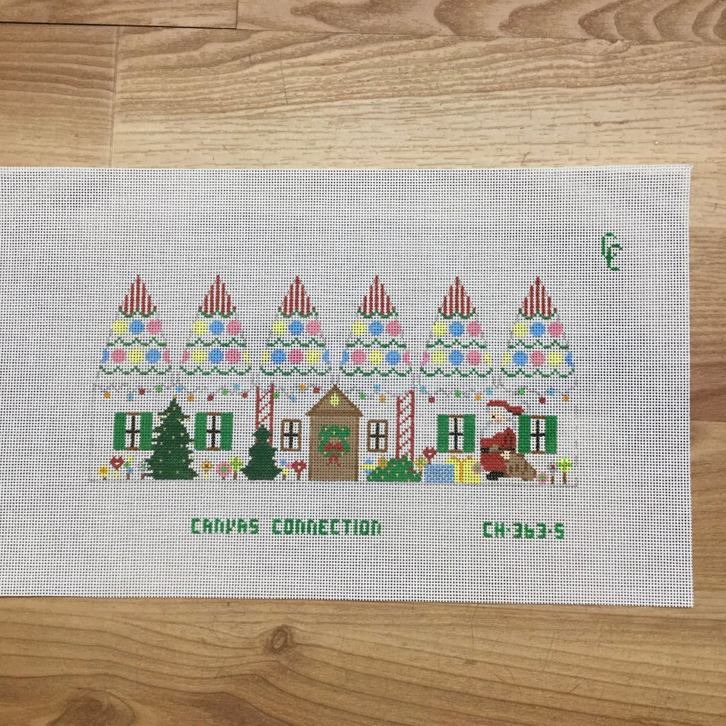 Santa at House Carousel Canvas - needlepoint