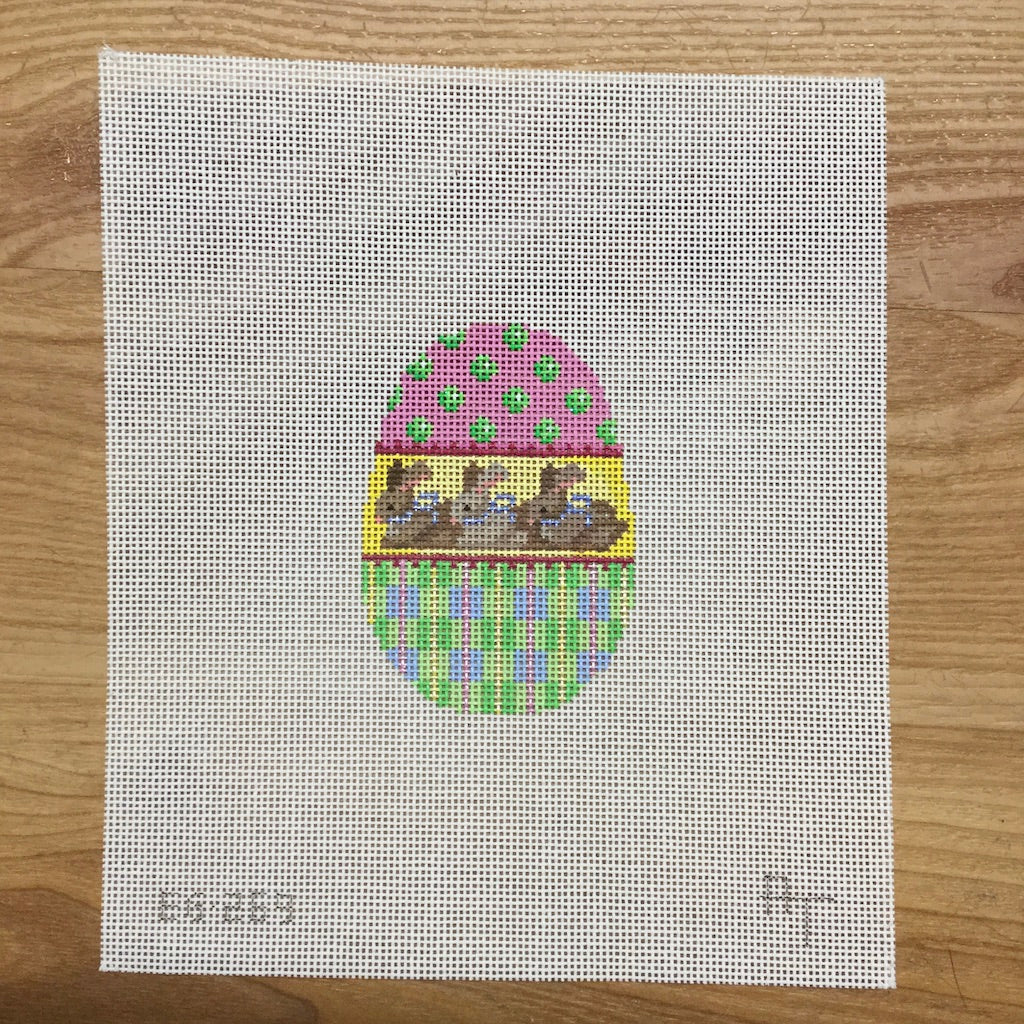 Three Bunnies Egg Canvas - needlepoint