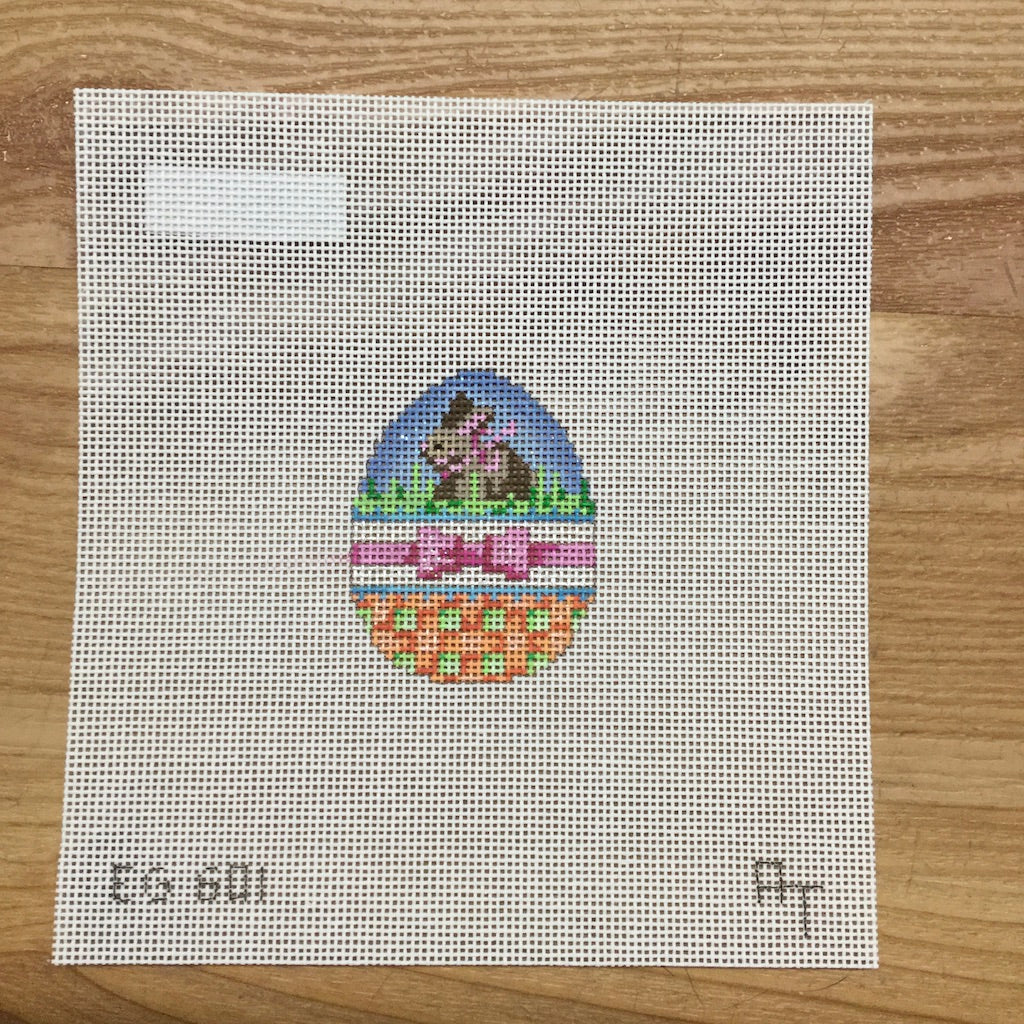 Bunny Bow Mini Egg Canvas-Needlepoint Canvas-Associated Talents-KC Needlepoint