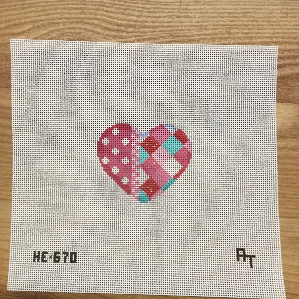 Harlequin and Dots Mini Heart Canvas-Needlepoint Canvas-Associated Talents-KC Needlepoint