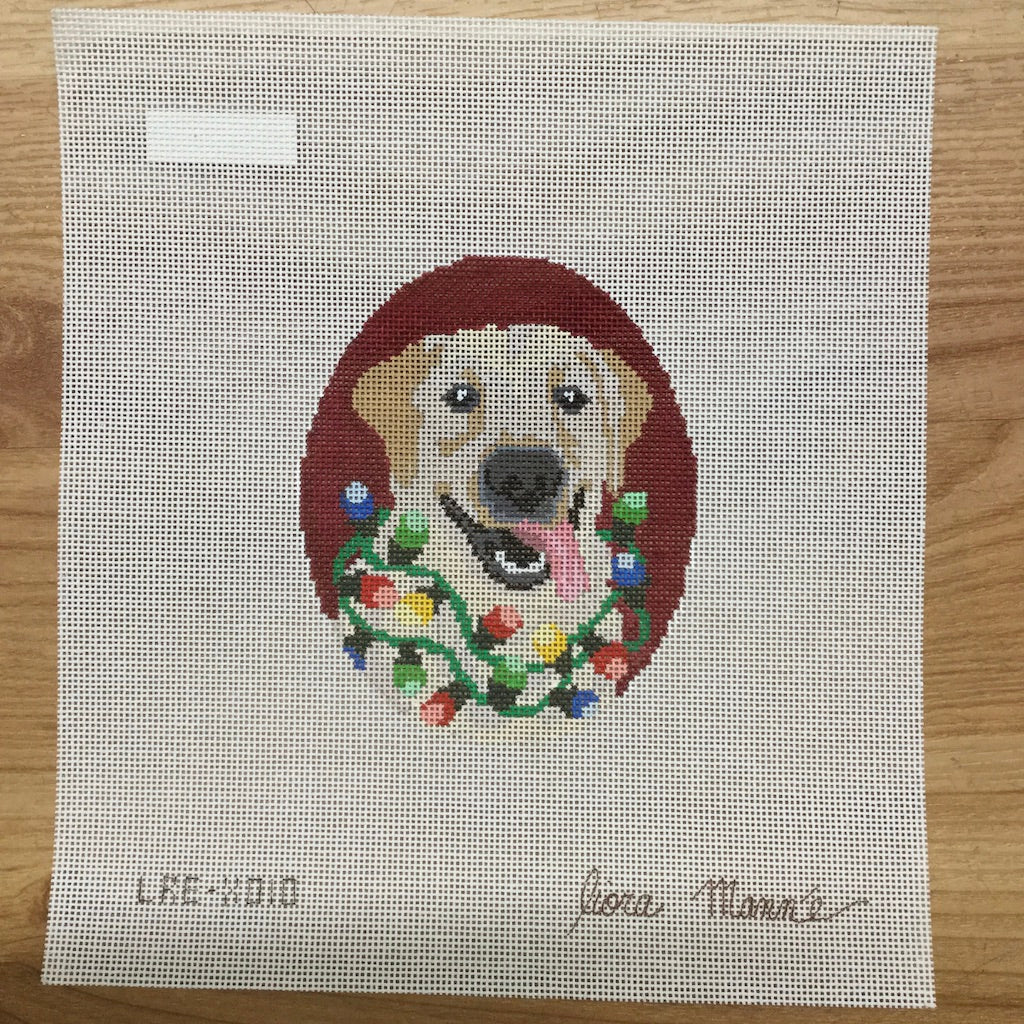 Yellow Lab with Lights Canvas - needlepoint