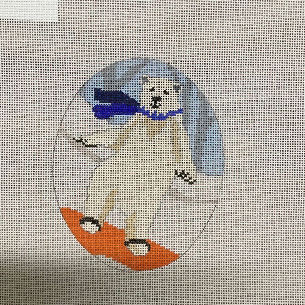 Polar Bear Snow Boarder Canvas - needlepoint