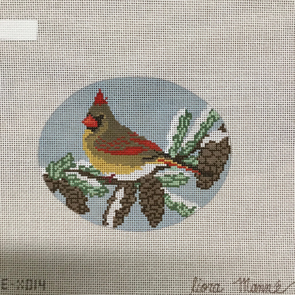 Bird on Evergreen Tree Canvas-Needlepoint Canvas-CBK Needlepoint-KC Needlepoint