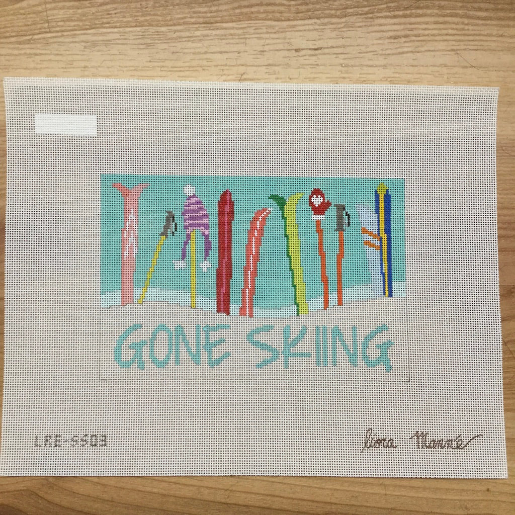 Gone Skiing Canvas - needlepoint