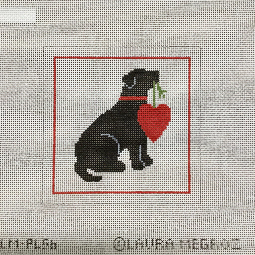 Black Lab with Heart Canvas - KC Needlepoint