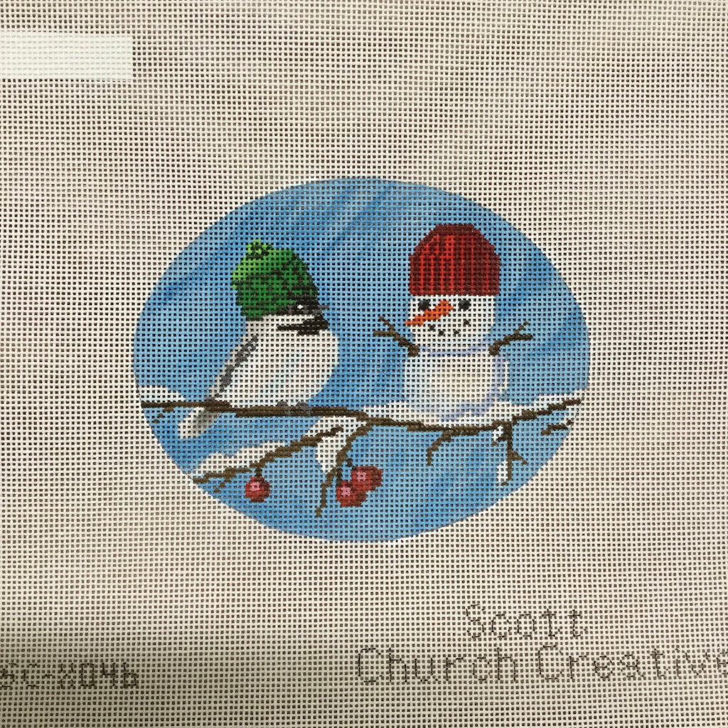 Bird and Snowman Canvas-Needlepoint Canvas-CBK Needlepoint-KC Needlepoint