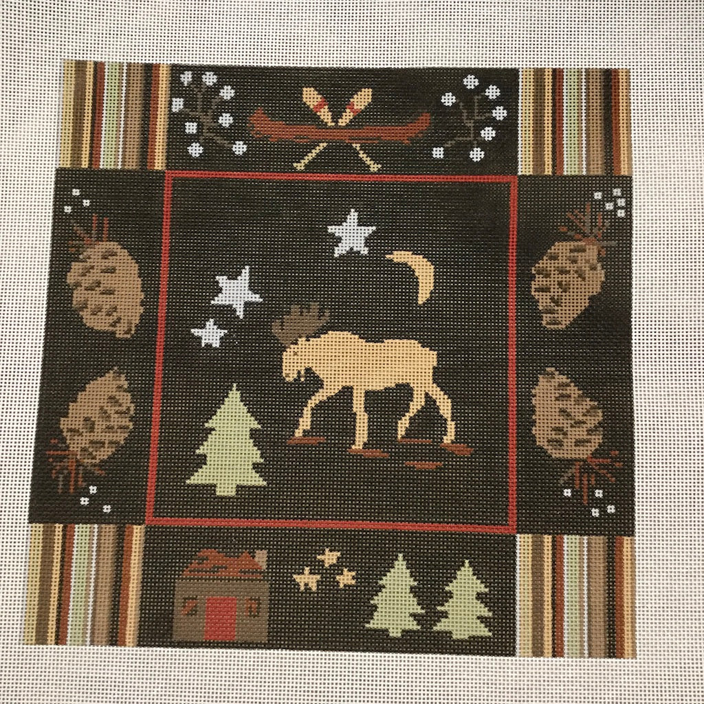 Night Moose Canvas - KC Needlepoint