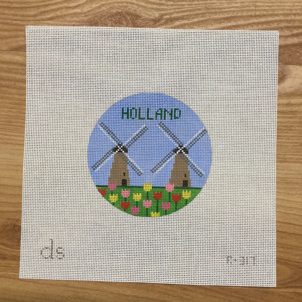 Holland Travel Round Canvas-Needlepoint Canvas-Doolittle Stitchery-KC Needlepoint