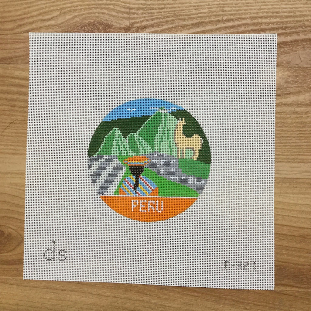 Peru Travel Round Canvas-Needlepoint Canvas-Doolittle Stitchery-KC Needlepoint