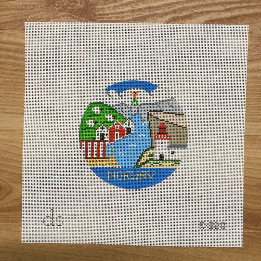 Norway Travel Round Canvas-Needlepoint Canvas-Doolittle Stitchery-KC Needlepoint