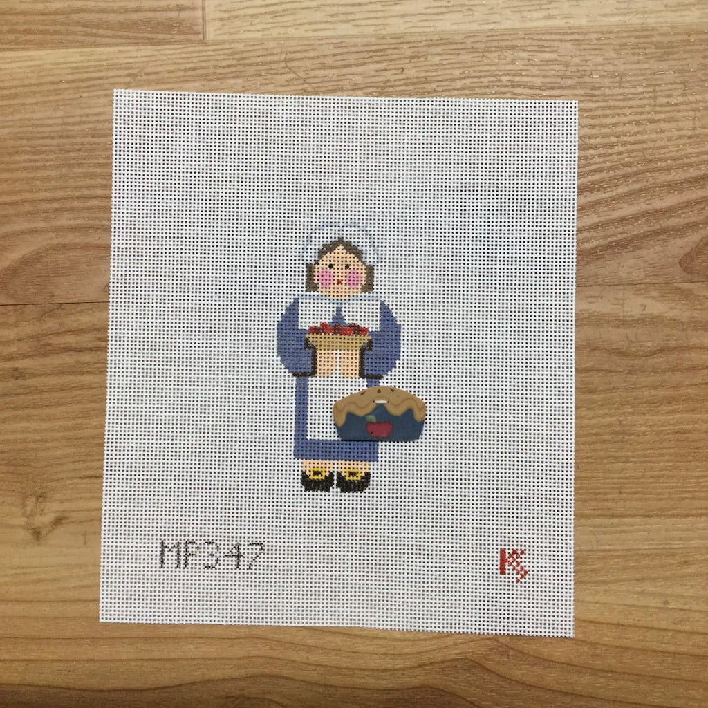 Pilgrim Woman Canvas-Needlepoint Canvas-Kathy Schenkel-KC Needlepoint