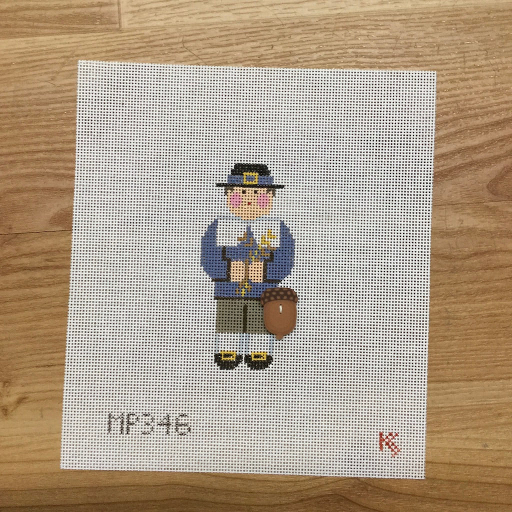 Pilgram Man Canvas-Needlepoint Canvas-Kathy Schenkel-KC Needlepoint