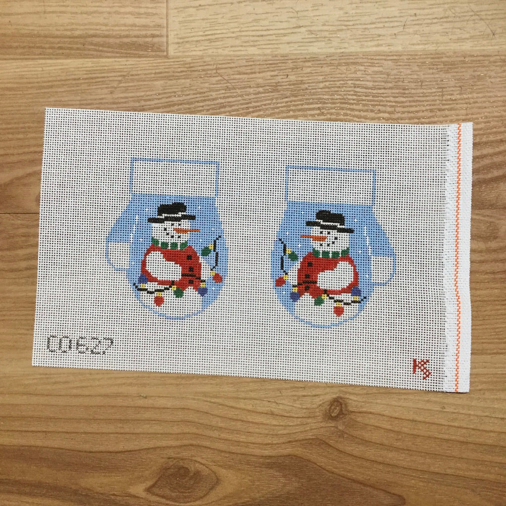 Snowman Mittens Canvas-Needlepoint Canvas-Kathy Schenkel-KC Needlepoint