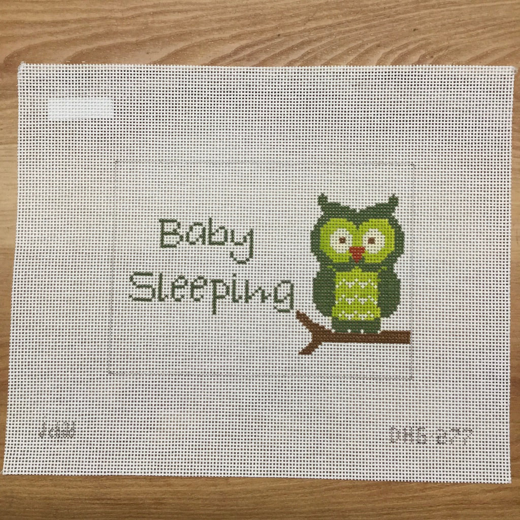 Owl Baby Sleeping Canvas - needlepoint