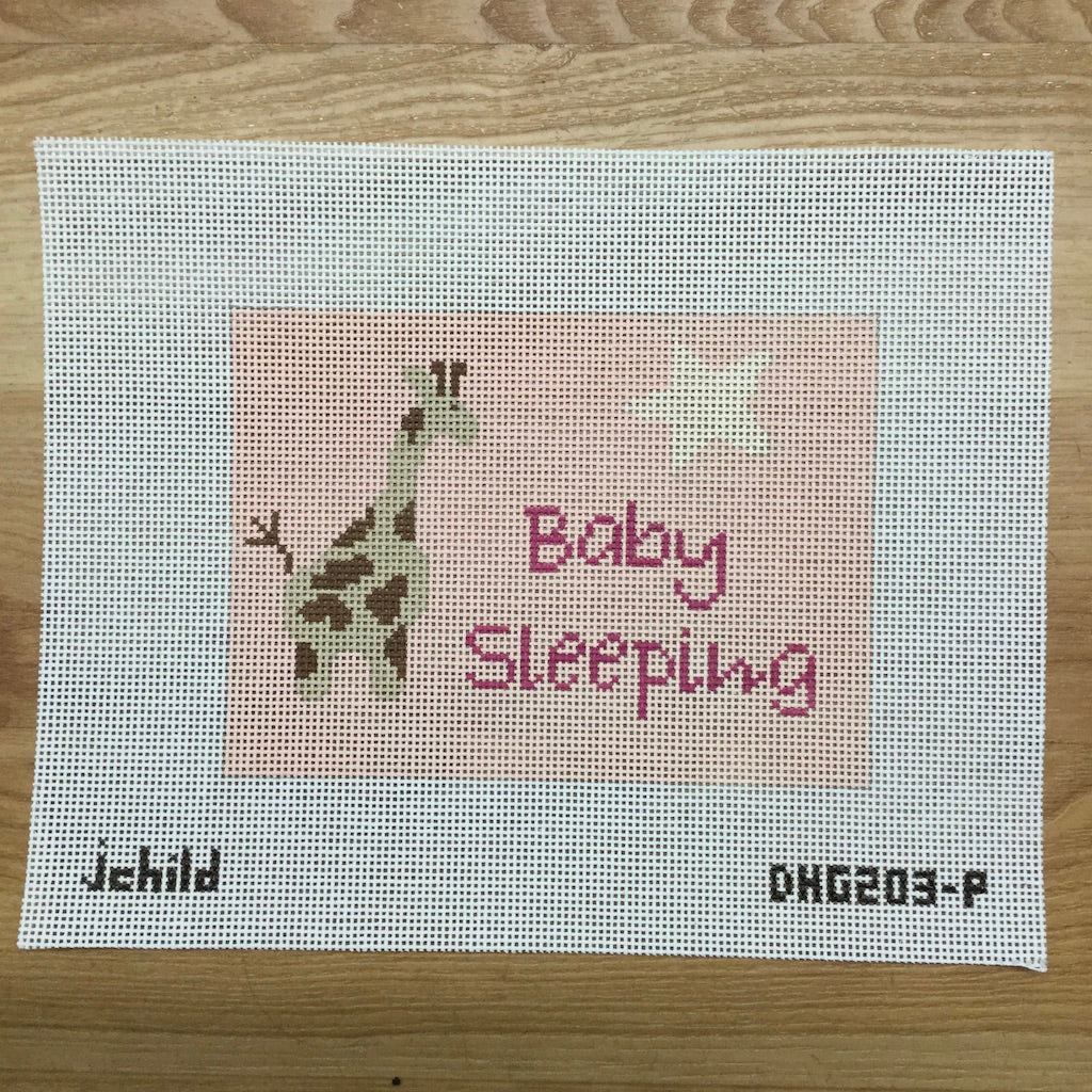 Pink Giraffe Baby Sleeping Canvas - needlepoint