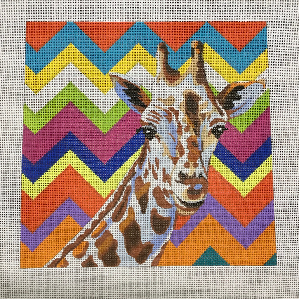 Colorful Giraffe Canvas-Needlepoint Canvas-Colors of Praise-KC Needlepoint