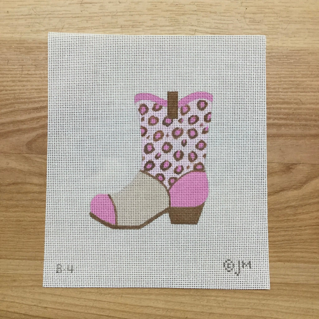 Pink Cowboy Boot Canvas - needlepoint