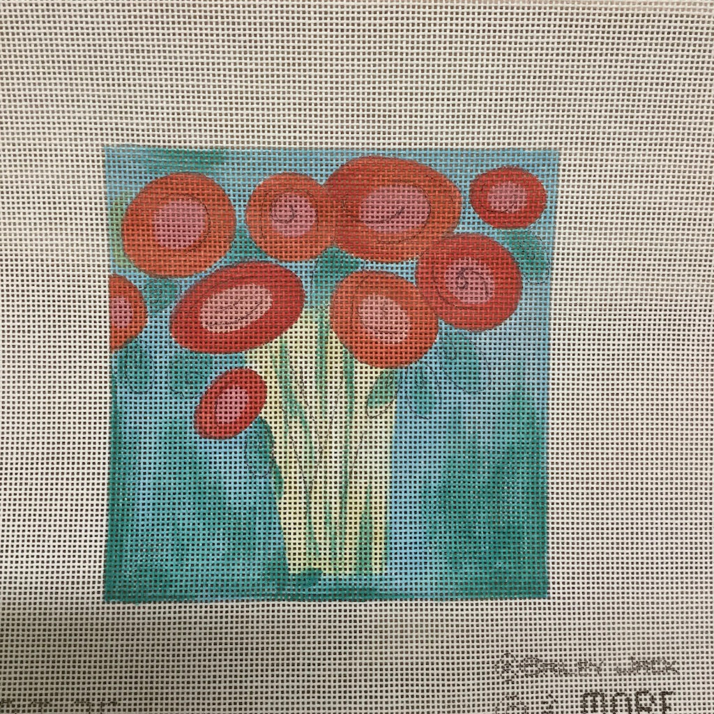 Red Flowers in Vase Canvas-Needlepoint Canvas-& More-KC Needlepoint