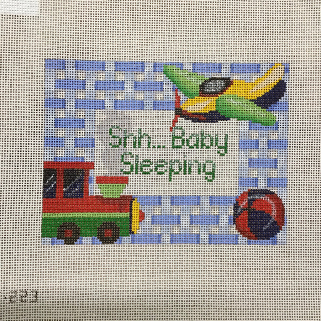 Train Baby Sleeping Canvas-Needlepoint Canvas-Alice Peterson-KC Needlepoint
