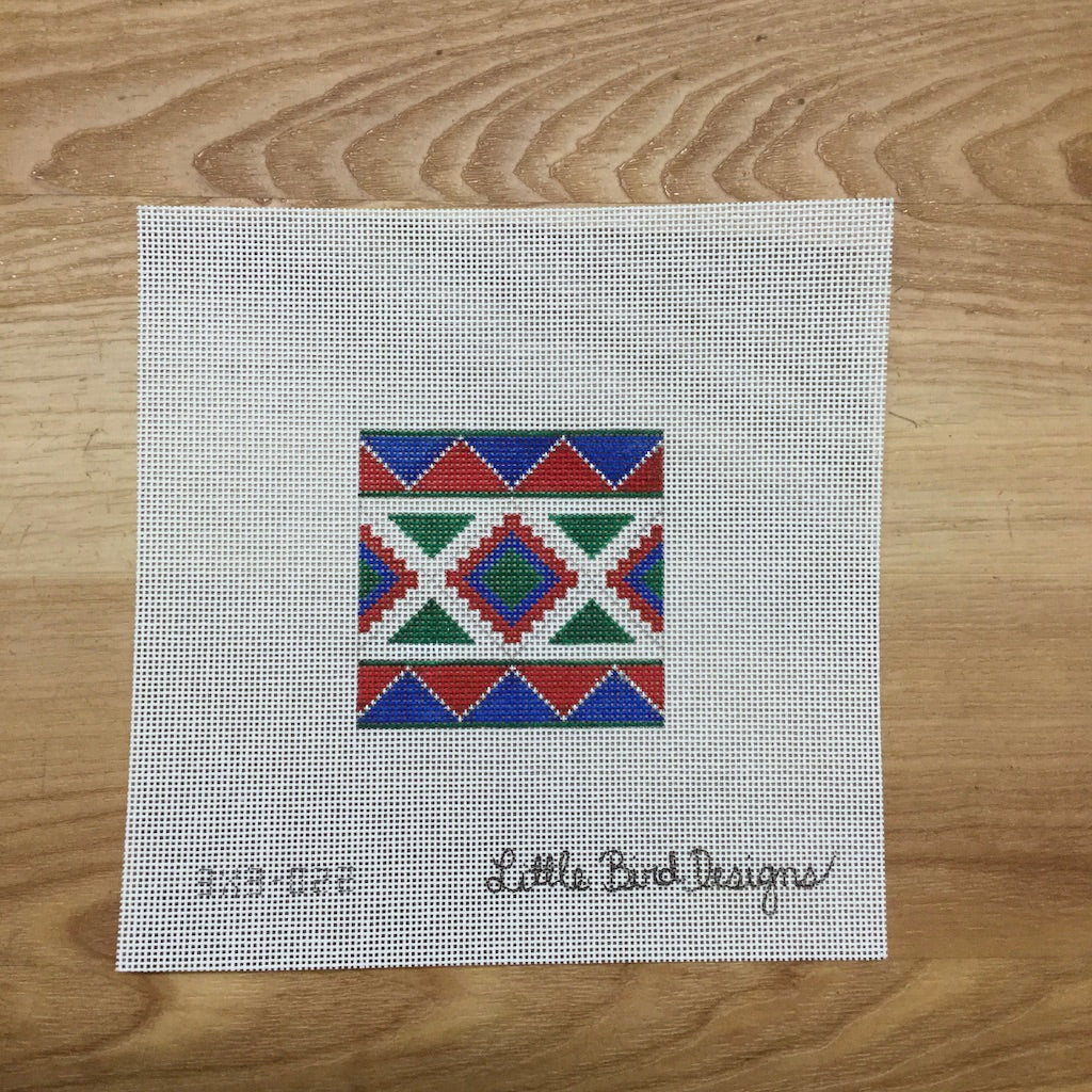 Blue Green Geometric Canvas-Needlepoint Canvas-Little Bird Designs-KC Needlepoint
