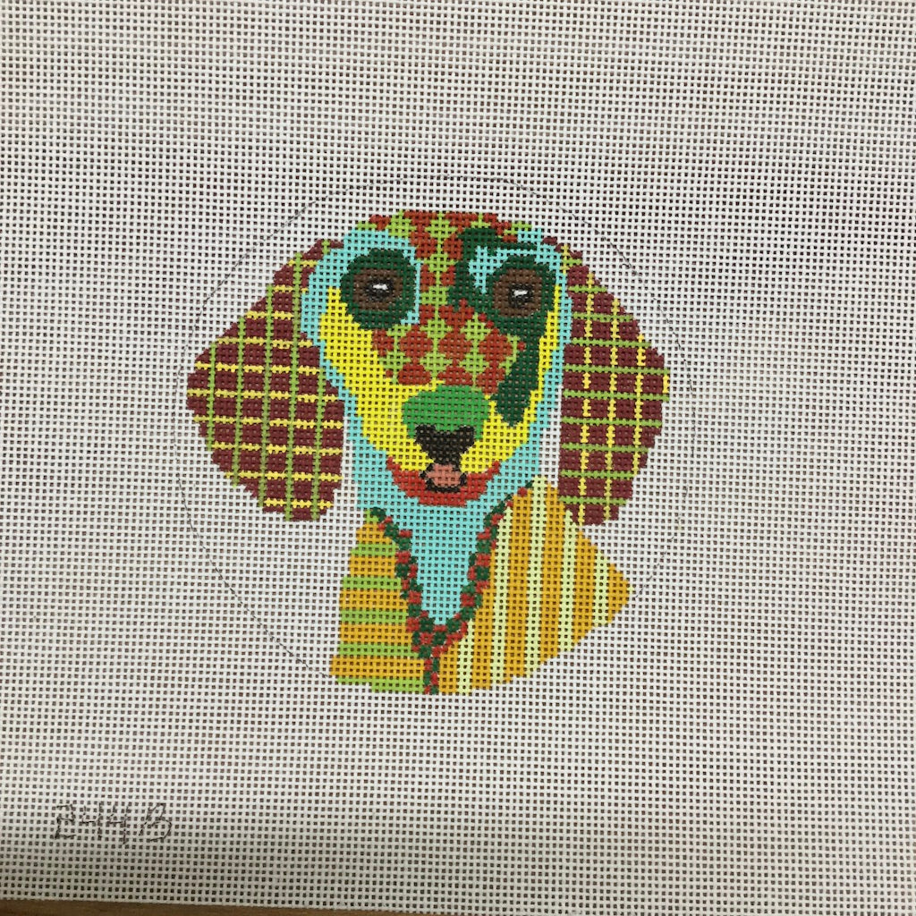 Dachshund Round Canvas - needlepoint