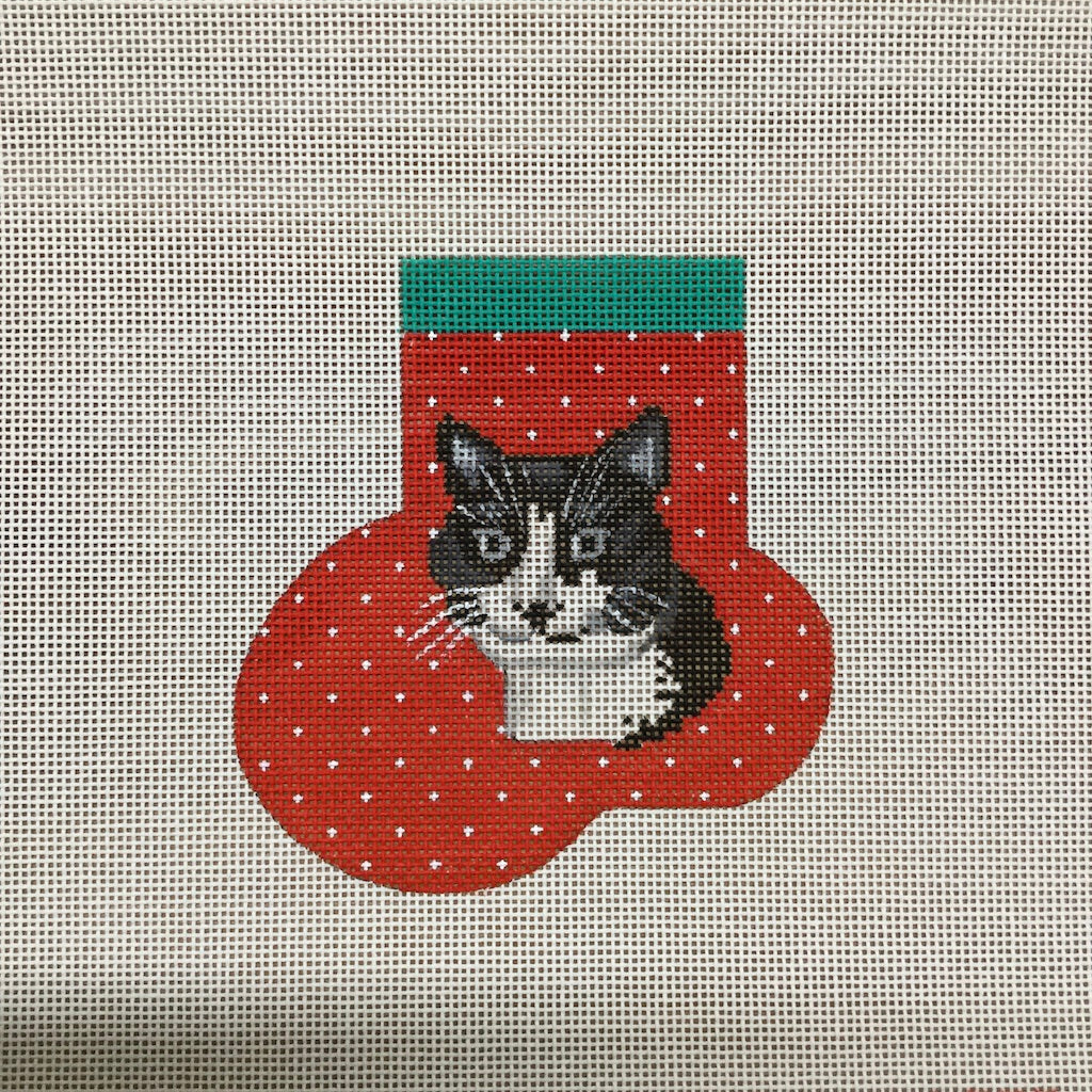 Tuxedo Cat Mini Sock Canvas-Needlepoint Canvas-Chris Lewis-KC Needlepoint
