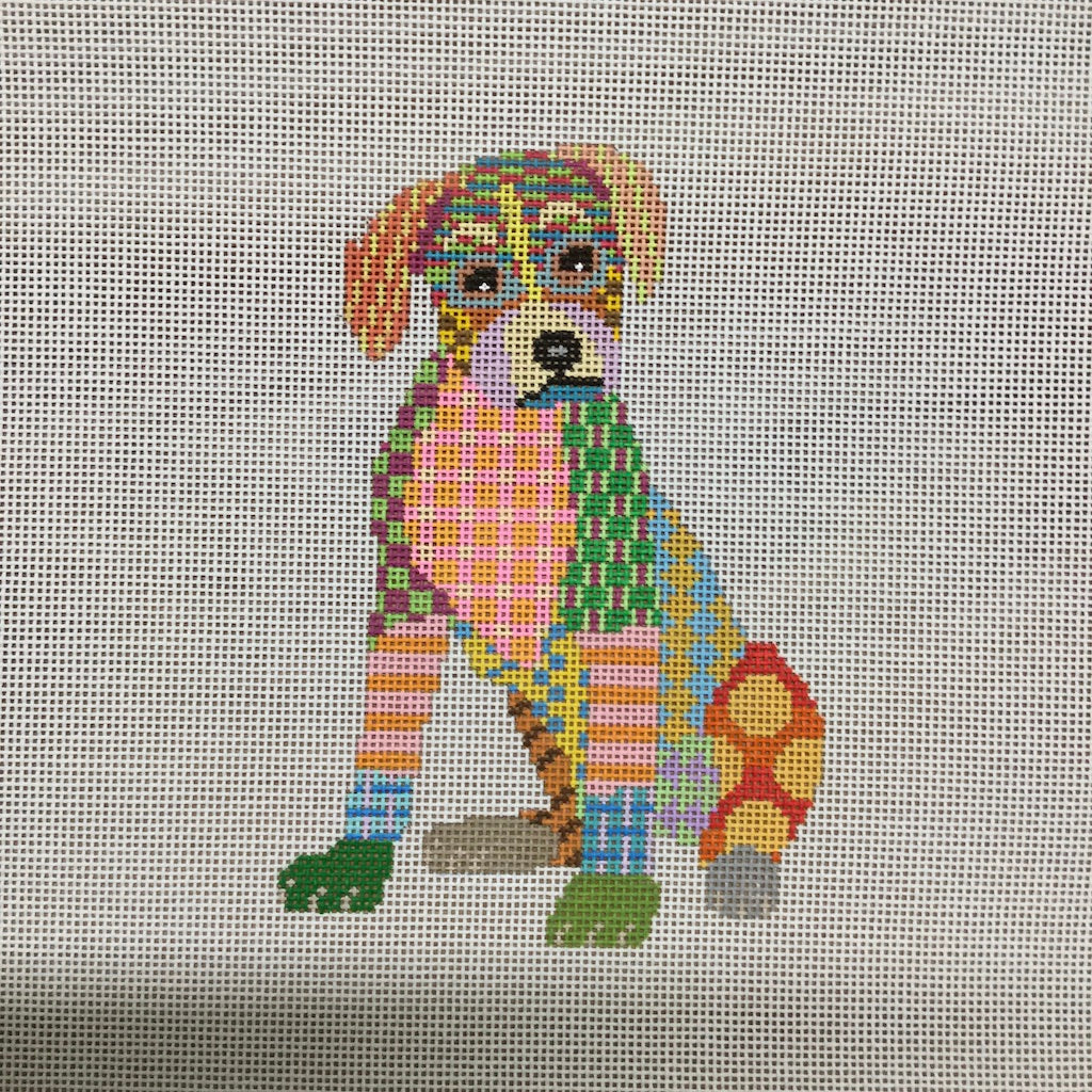 Colorful Small Boxer Canvas - needlepoint