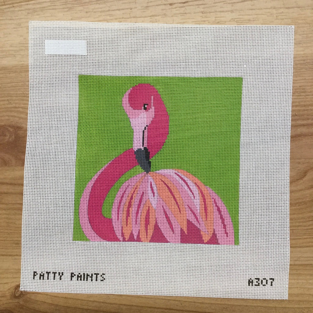Primping Flamingo Needlepoint Canvas-Needlepoint Canvas-The Collection-KC Needlepoint