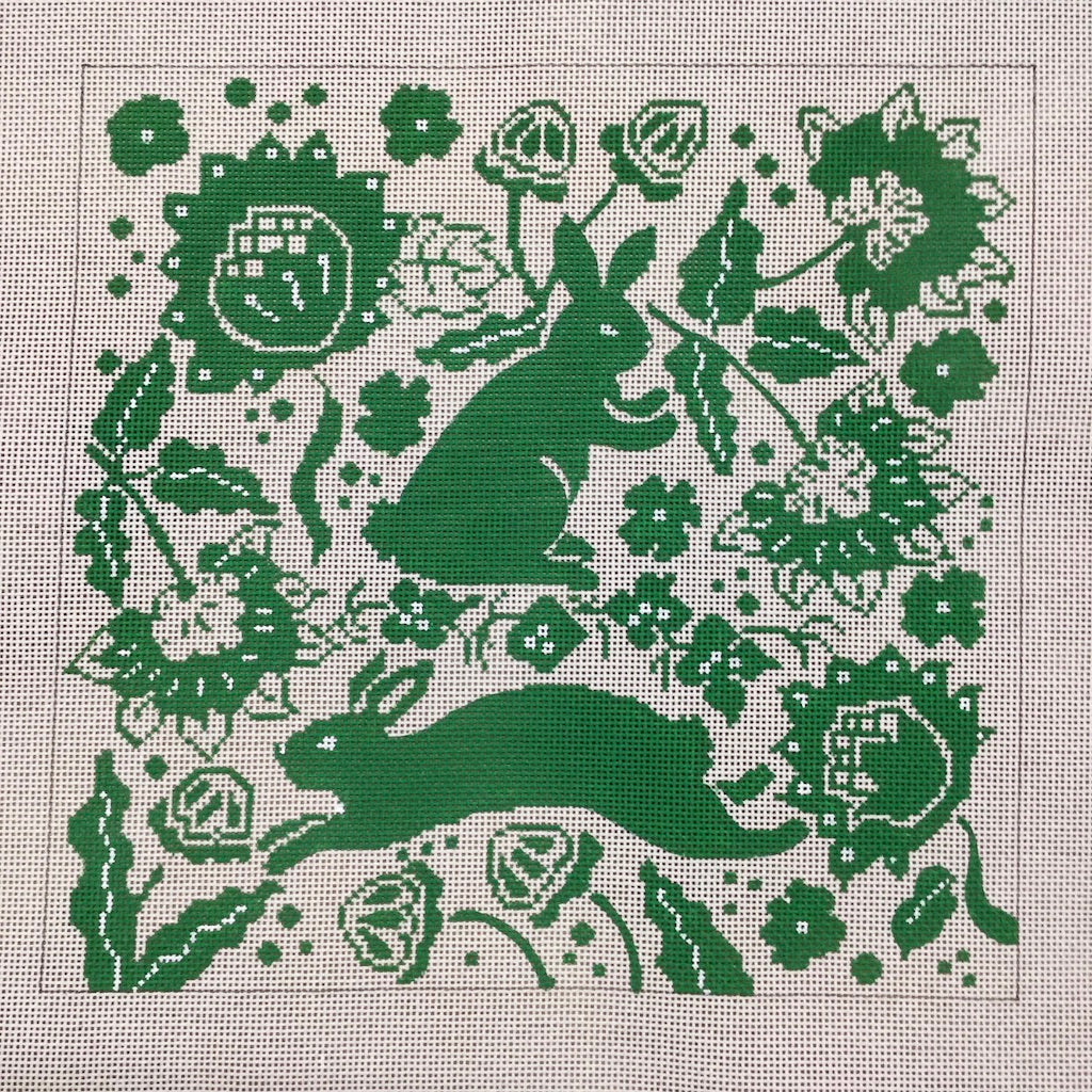 Green Bunny Needlepoint Canvas-Needlepoint Canvas-The Collection-KC Needlepoint