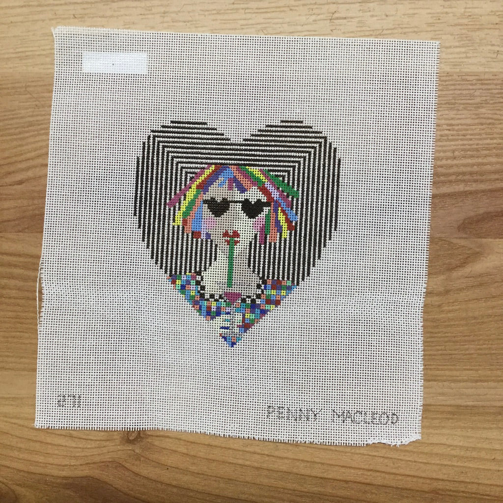 Cosmo Heart Needlepoint Canvas-The Collection-KC Needlepoint