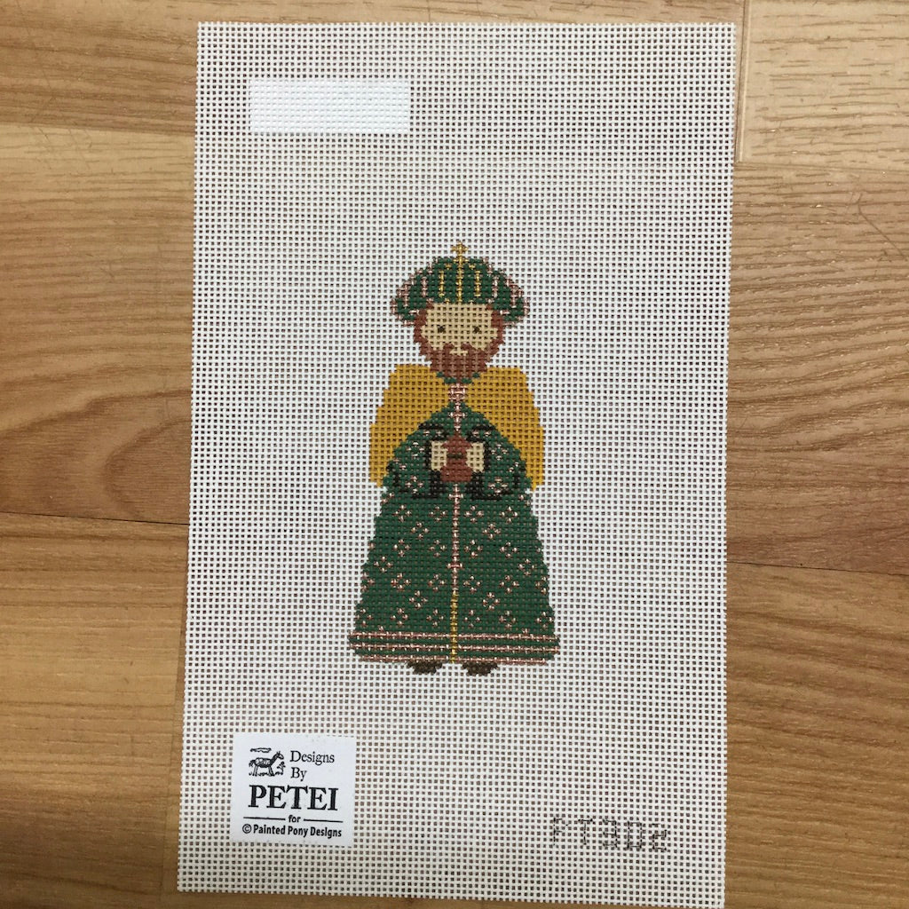 Nativity Piece Green Wiseman Canvas - needlepoint