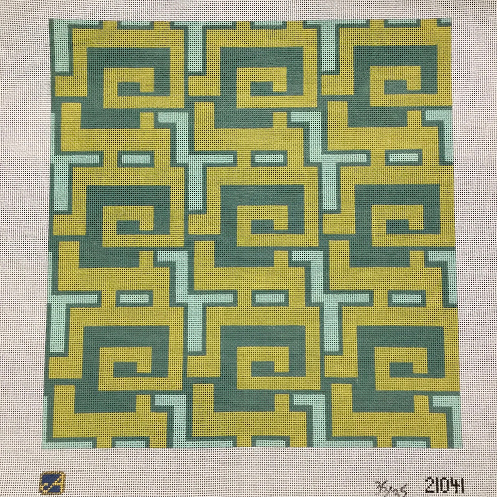 Green and Yellow Geometric Canvas-Needlepoint Canvas-Vallerie Needlepoint-KC Needlepoint