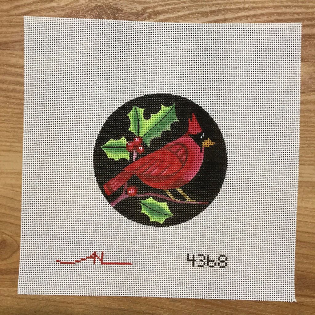Cardinal on Black Round Canvas-Needlepoint Canvas-Vallerie Needlepoint-KC Needlepoint