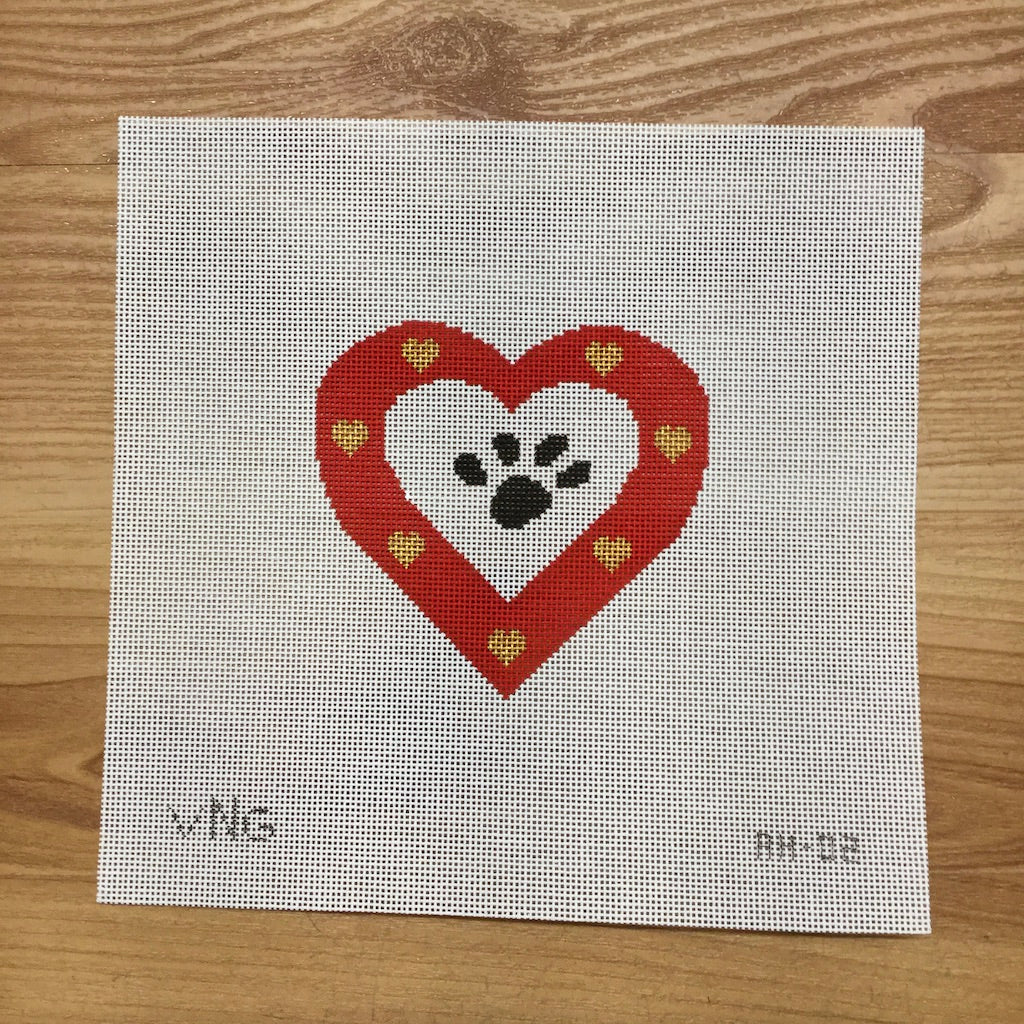 Dog Paw Heart Canvas-Needlepoint Canvas-Vallerie Needlepoint-KC Needlepoint