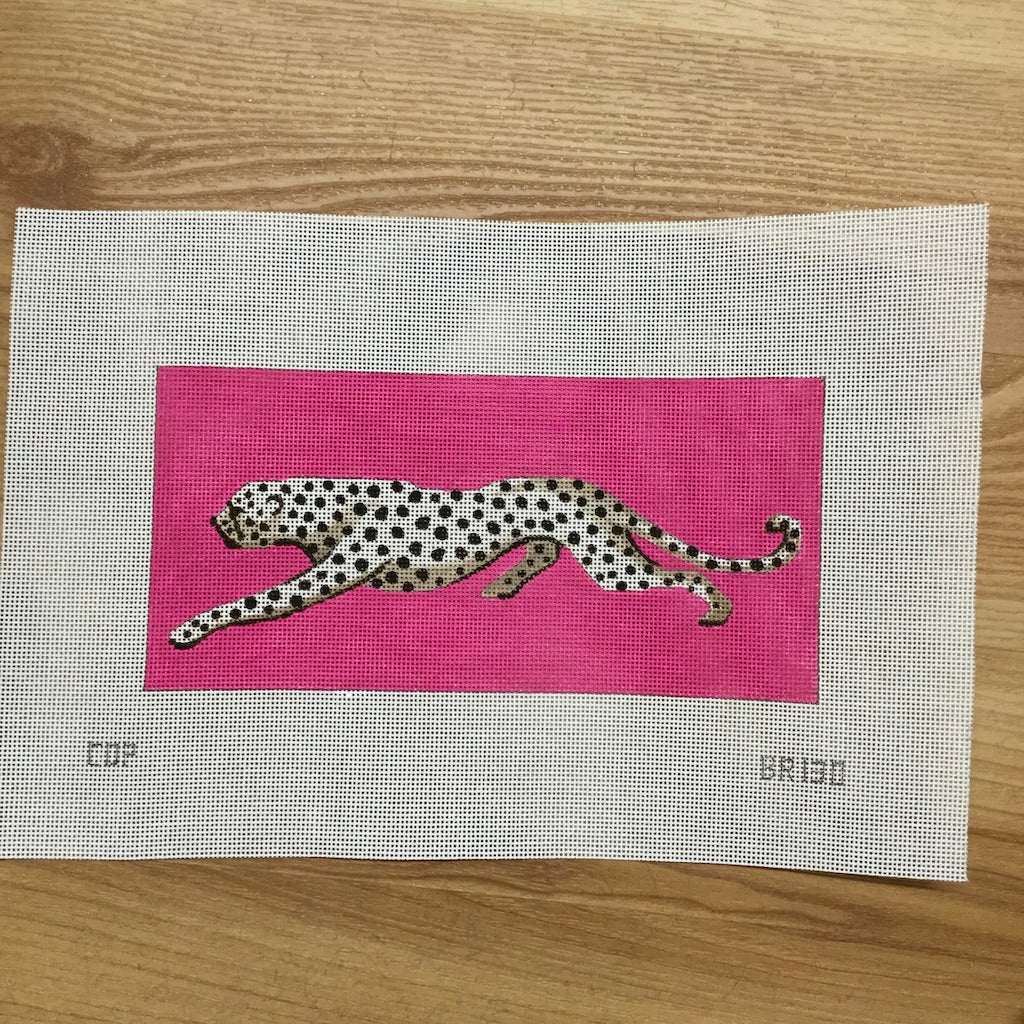 Leopard on Pink Canvas - needlepoint