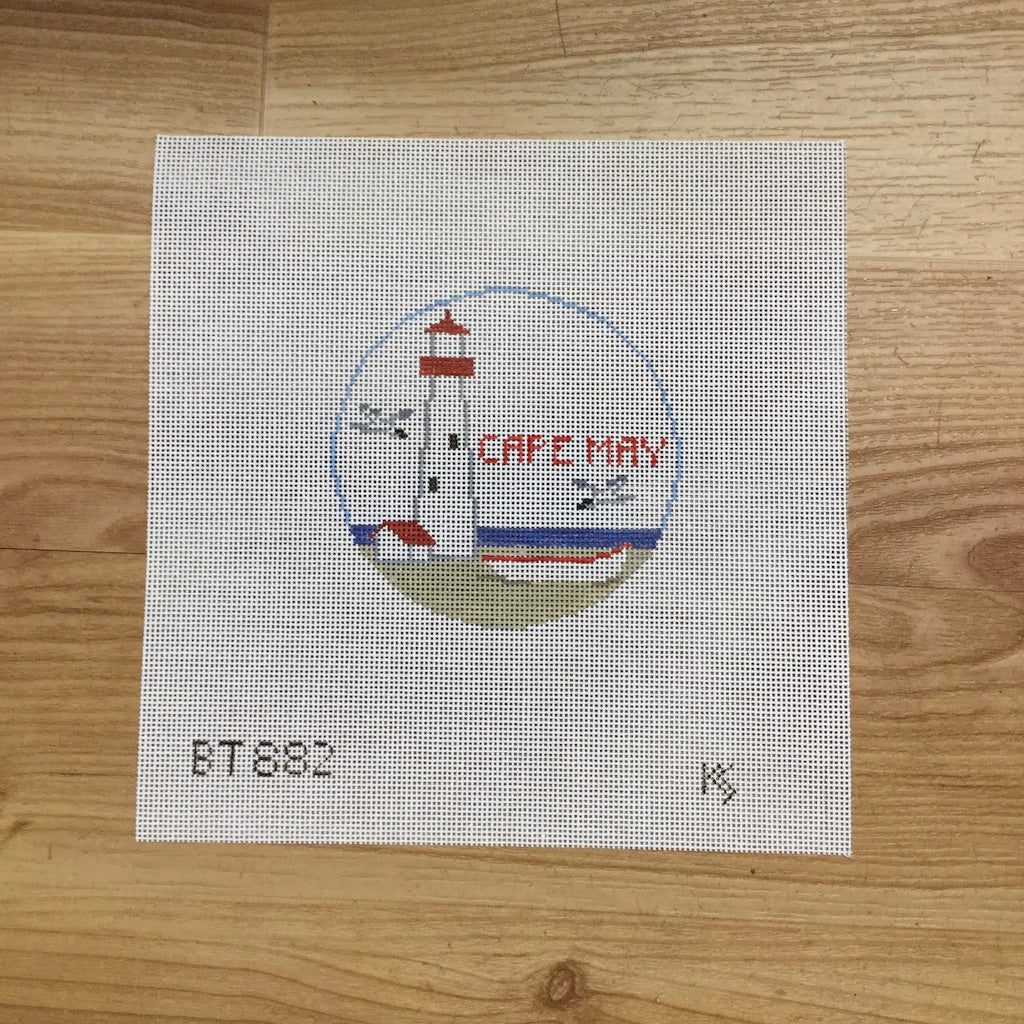 Cape May, NJ Travel Round Canvas-Needlepoint Canvas-Kathy Schenkel-KC Needlepoint