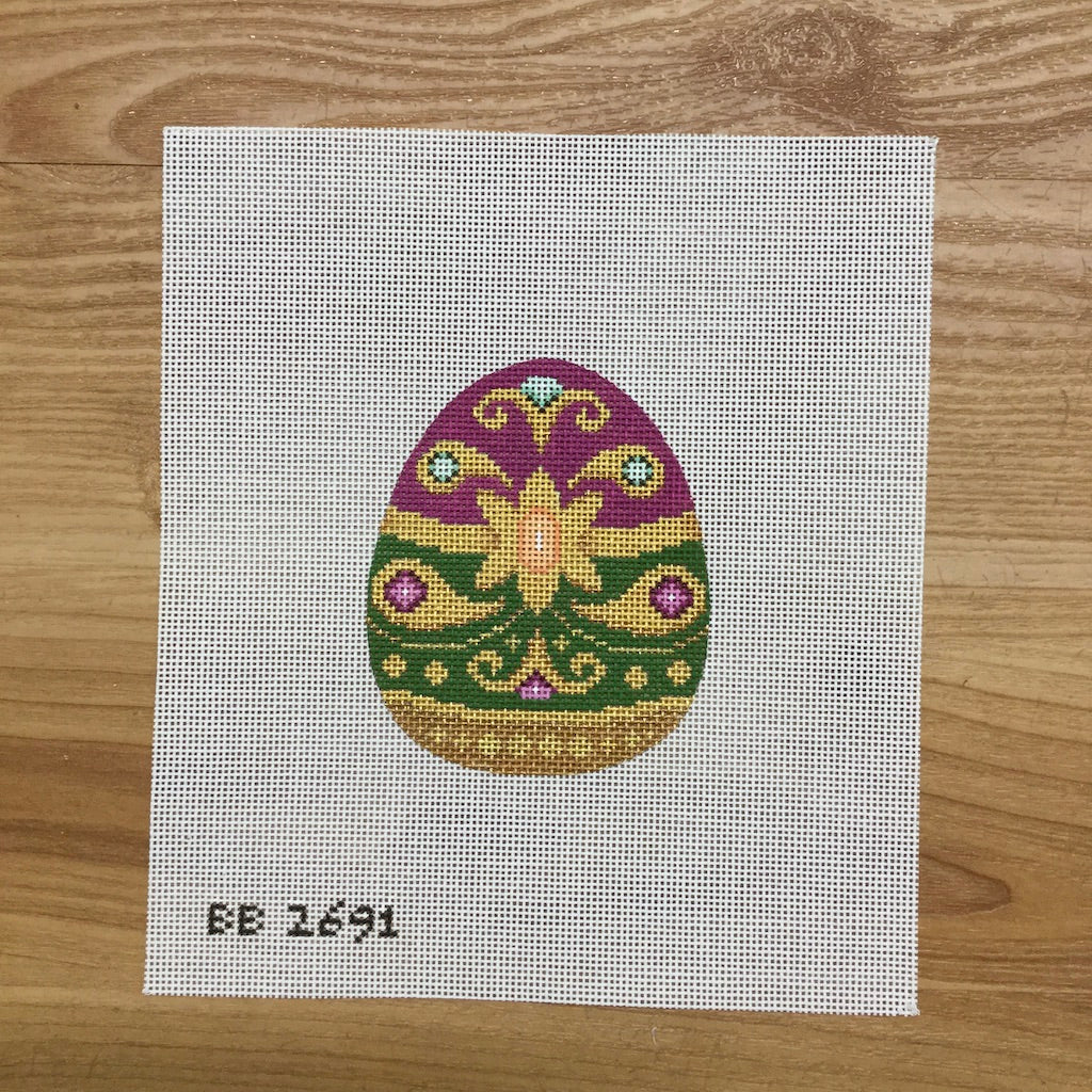 Green & Purple Jeweled Egg Canvas