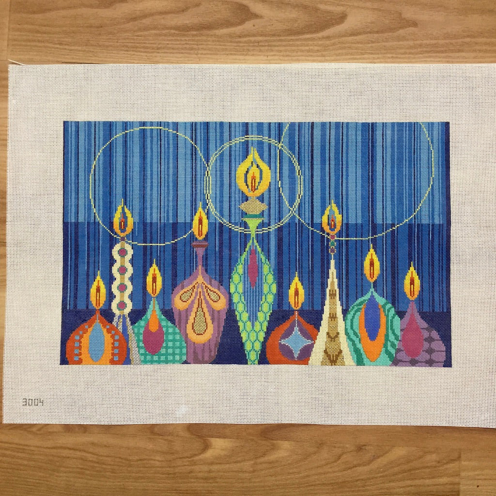 Colorful Menorah Canvas-Needlepoint Canvas-Tapestry Fair-KC Needlepoint