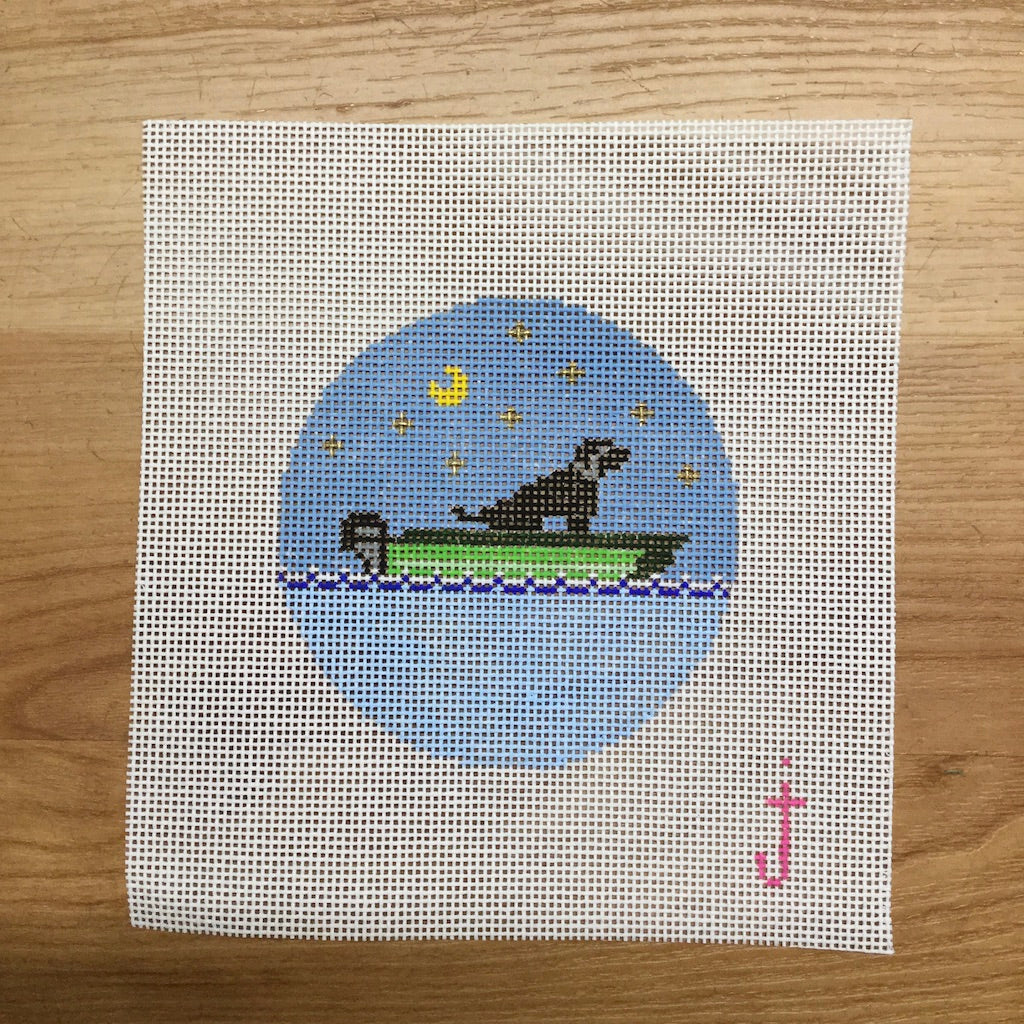Lab in a Boat Canvas - needlepoint