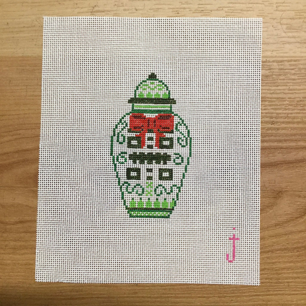 Christmas Ginger Jar Canvas-Needlepoint Canvas-Jessica Tongel Designs-KC Needlepoint