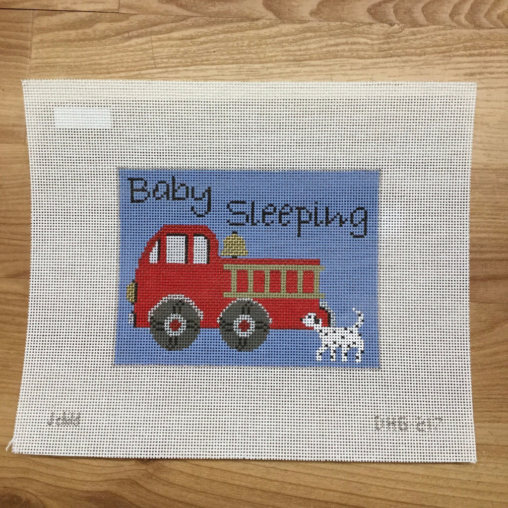 Fire Engine Baby Sleeping Canvas - needlepoint