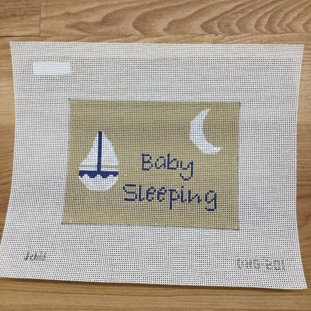 Sailboat Baby Sleeping Canvas - needlepoint