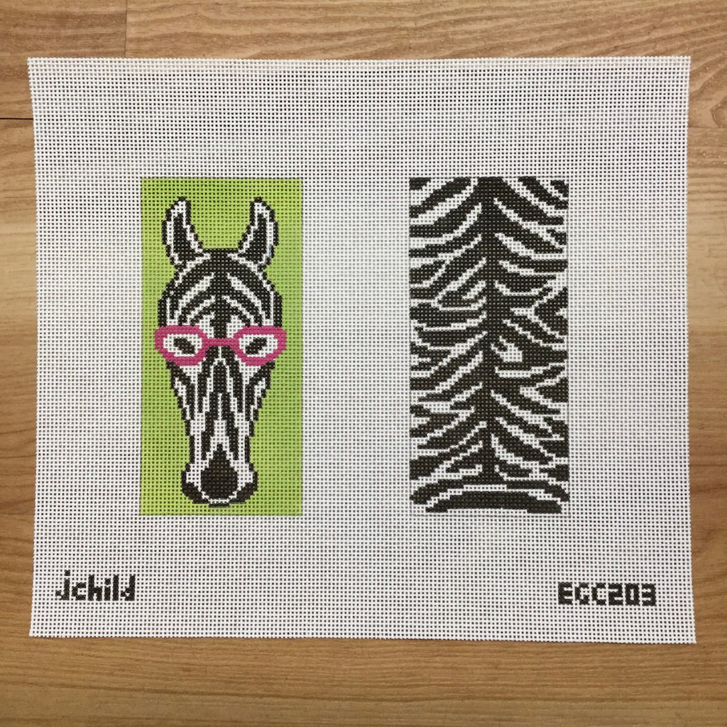 Zebra Eyeglass Case Canvas-Needlepoint Canvas-J. Child Designs-KC Needlepoint