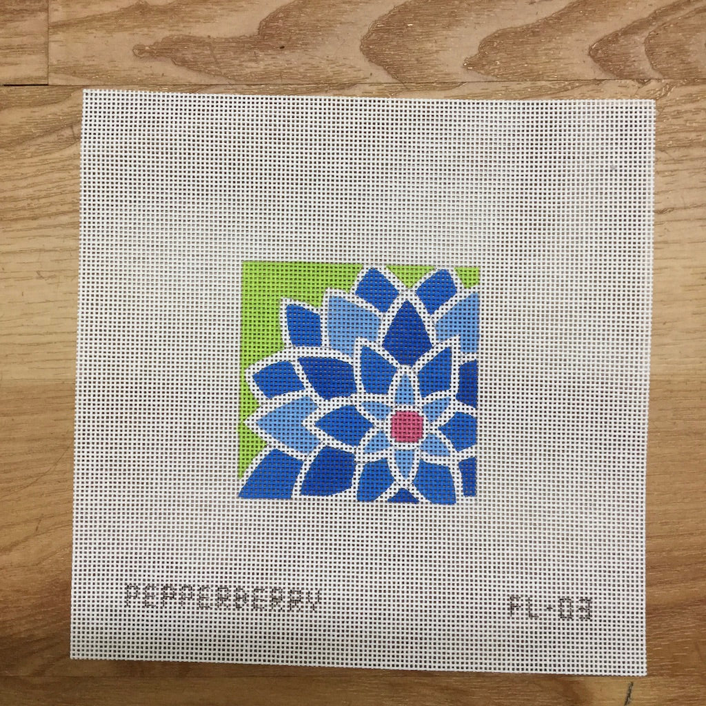 "Blue Graphic Flower 3"" Canvas-Needlepoint Canvas-Pepperberry Designs-KC Needlepoint"