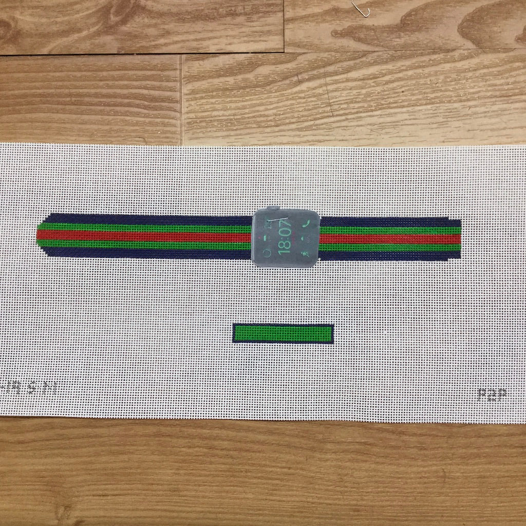 Apple Watch Strap Canvas-Needlepoint Canvas-Point2Pointe-Blue, Green Red Stripe-KC Needlepoint