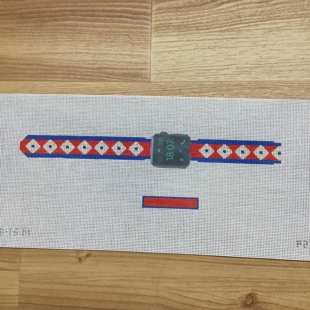 Apple Watch Strap Canvas-Needlepoint Canvas-Point2Pointe-Red, Cream, Blue-KC Needlepoint